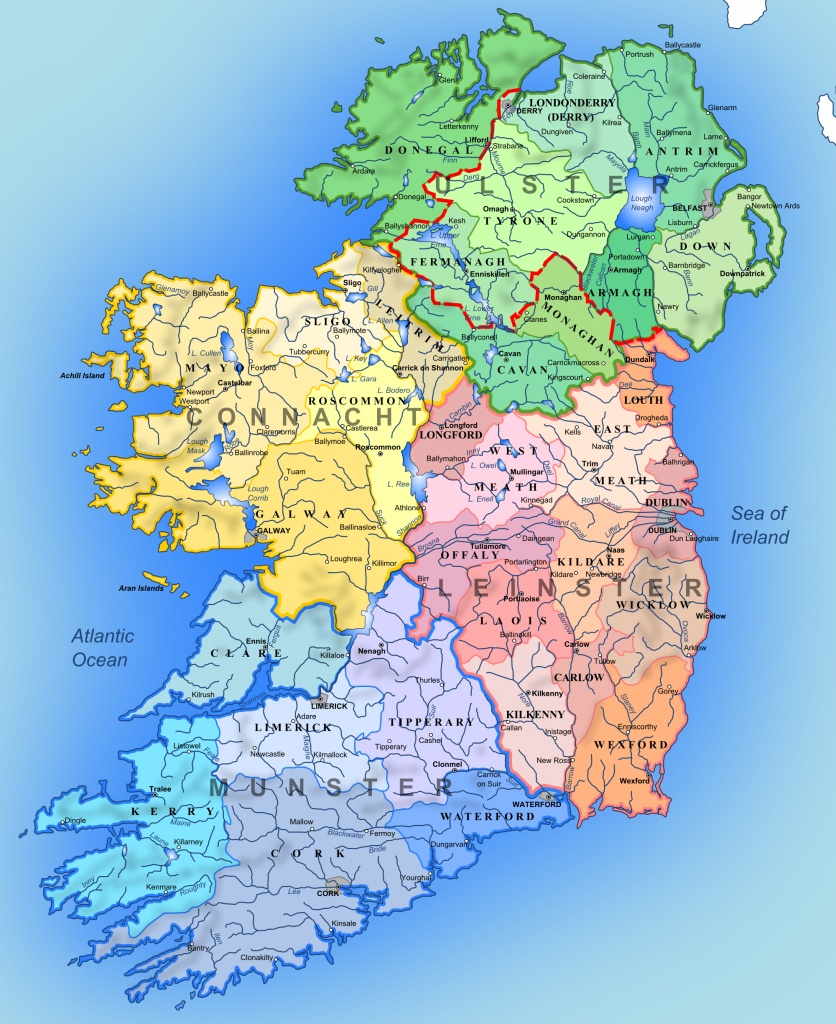 Carte irlande regions villes rivieres